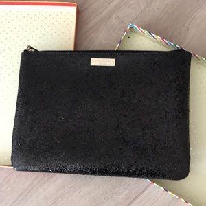 Kate Spade large black glitter clutch